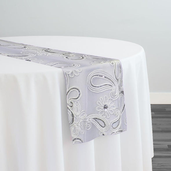 Paisley Floret Sequins Table Runner in White