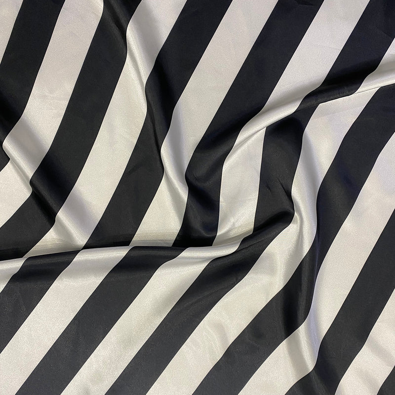 "2"" Satin Stripe Wholesale Fabric in White and Black"