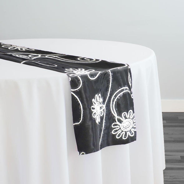 Eyelash Embroidery Table Runner in White and Black