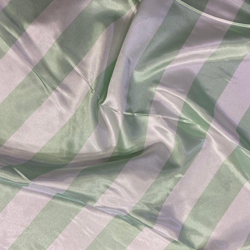"2"" Satin Stripe Table Napkin in White and Mint"