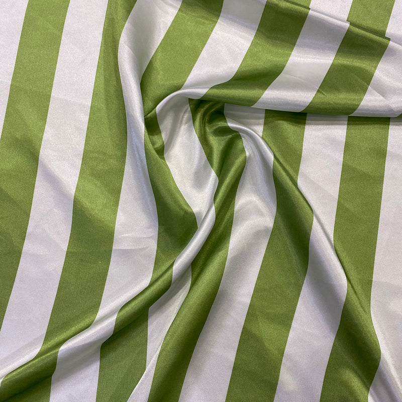 "2"" Satin Stripe Table Napkin in White and Moss"