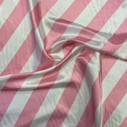 "2"" Satin Stripe Table Linen in White and Pink"