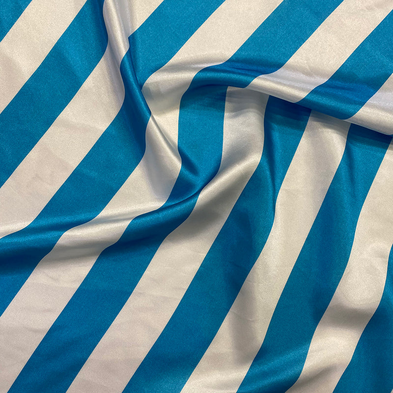 "2"" Satin Stripe Table Napkin in White and Turquoise"