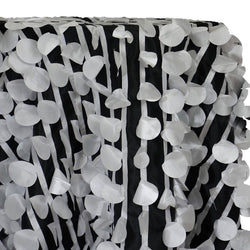 Funzie (Circle Hanging) Taffeta Table Linen in White on Black