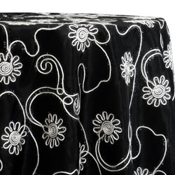 Eyelash Embroidery Table Linen in White on Black