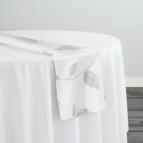 Birch Leaf Table Runner in White