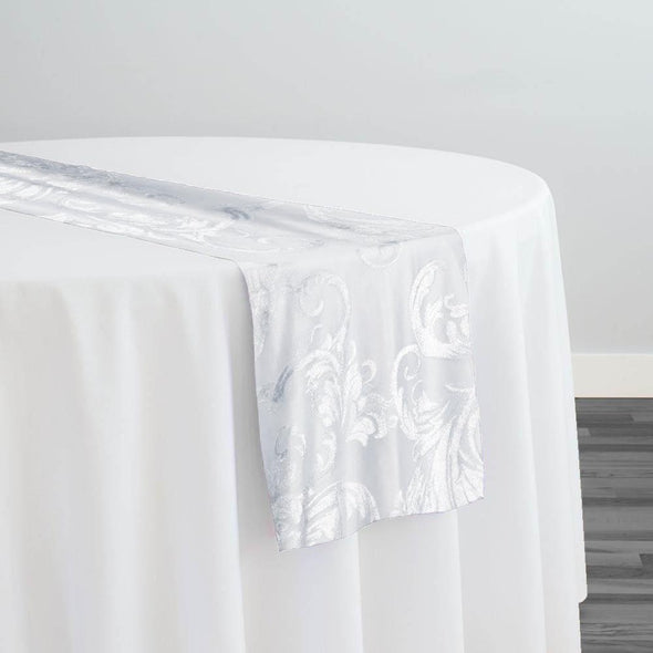 Victorian Jacquard Sheer Table Runner in White