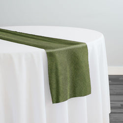 Imitation Burlap (100% Polyester) Table Runner in Willow Green