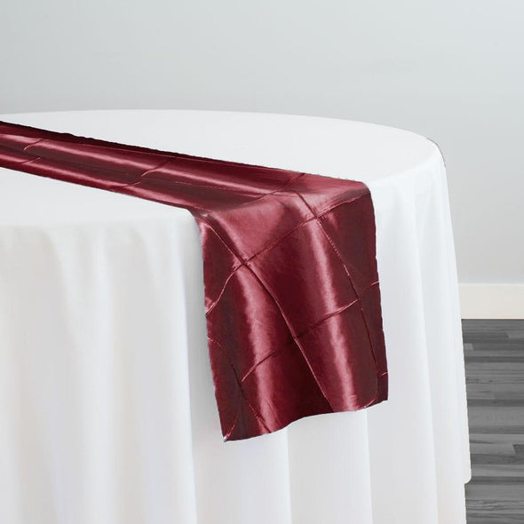 "4"" Pintuck Taffeta Table Runner in Wine 001"