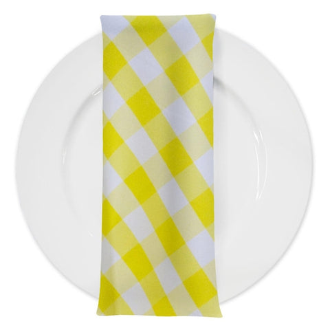 Polyester Checker (Gingham) Table Napkin in Yellow