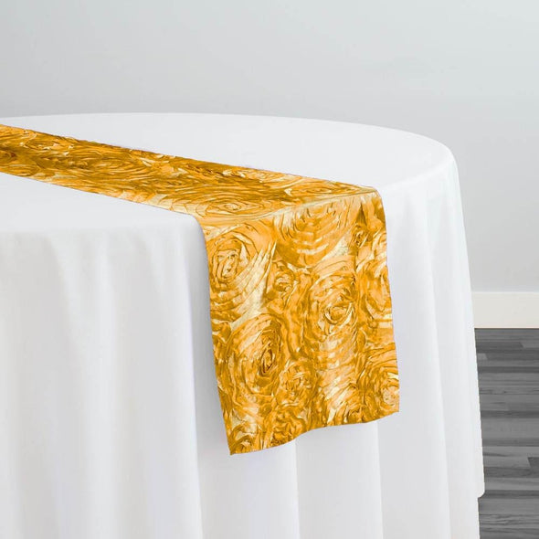 Rose Satin (3D) Table Runner in Yellow D 215