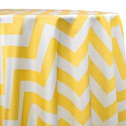 Chevron Print (Lamour) Table Linen in Yellow and White