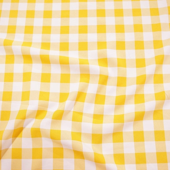 Polyester Checker (Gingham) Wholesale Fabric in Dark Yellow