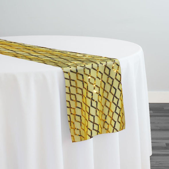 Vortex Sequins Table Runner in Yellow