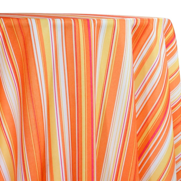 Multi-Color Stripe Table Linen in Sunset