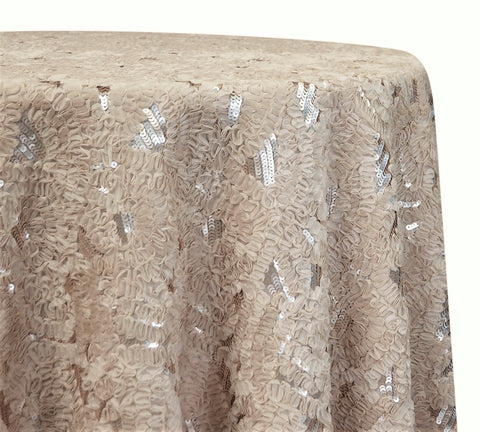 "Zenya Sequins - Champagne 120"" Round Wedding Tablecloth"