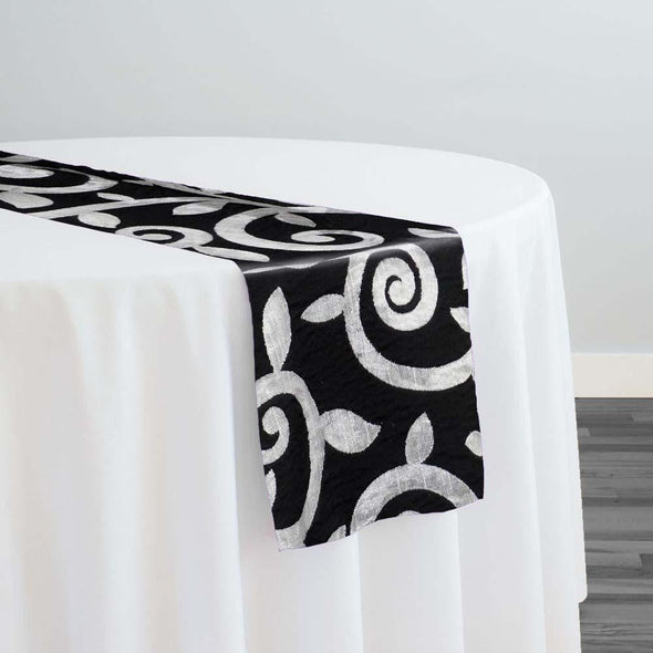 Tuscany Jacquard (Reversible) Table Runner in Black and Silver