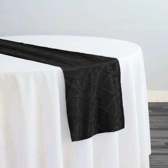 "2"" Pintuck Taffeta Table Runner in Black"