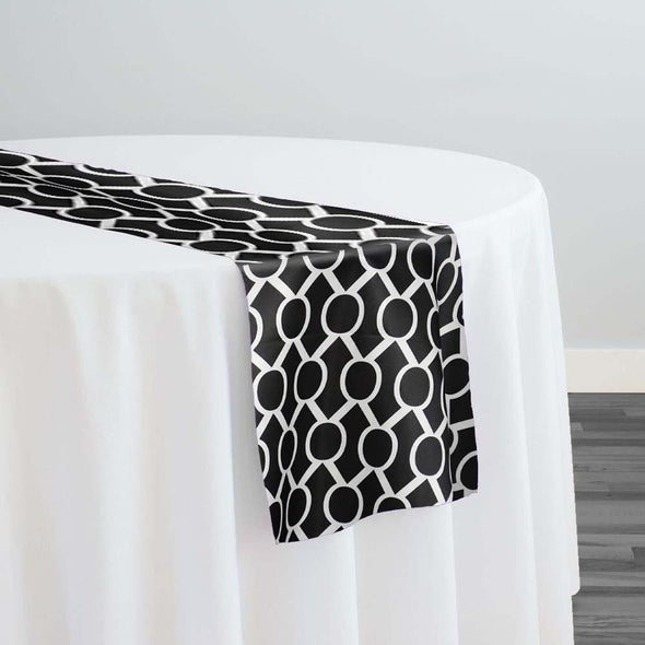 Halo Print (Lamour) Table Runner in Black and White