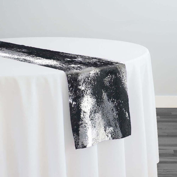 Element Jacquard Table Runner in Black and Silver