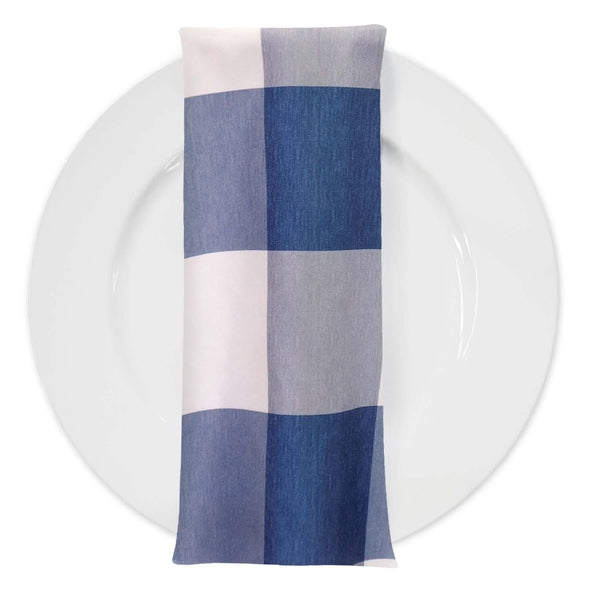 Hampton Checker (Poly Print) Table Napkin in Blue