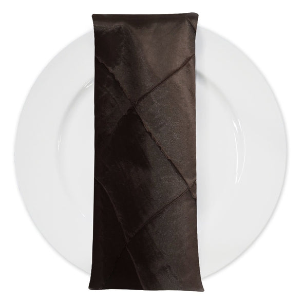 "4"" Pintuck Taffeta Table Napkin in Brown 036"