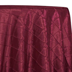 "2"" Pintuck Taffeta Table Linens in Burgundy 015"