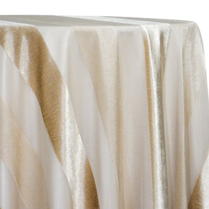 Velvet Stripe Table Linen in Champagne