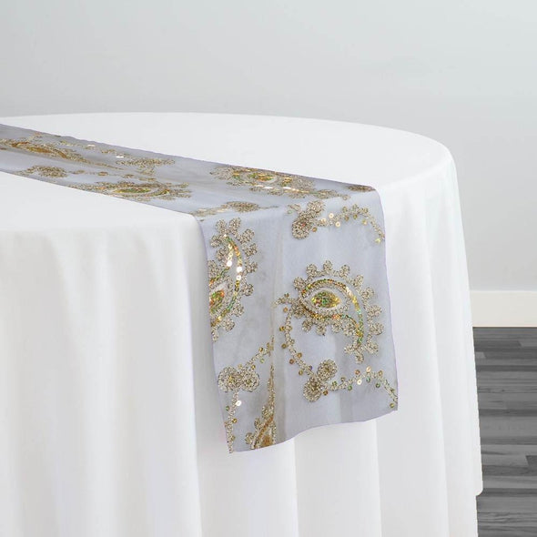 Cocoa Paisley Embroidery Table Runner in Champagne