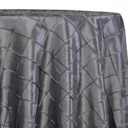 "2"" Pintuck Taffeta Table Linens in Charcoal"