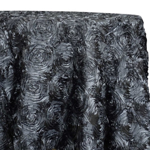 Rose Satin (3D) Table Linen in Charcoal