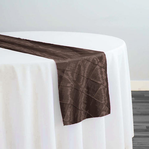"2"" Pintuck Taffeta Table Runner in Chocolate 036"