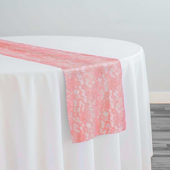 Classic Lace Table Runner in Coral 1203