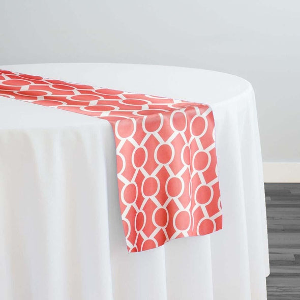 Halo Print (Lamour) Table Runner in Coral