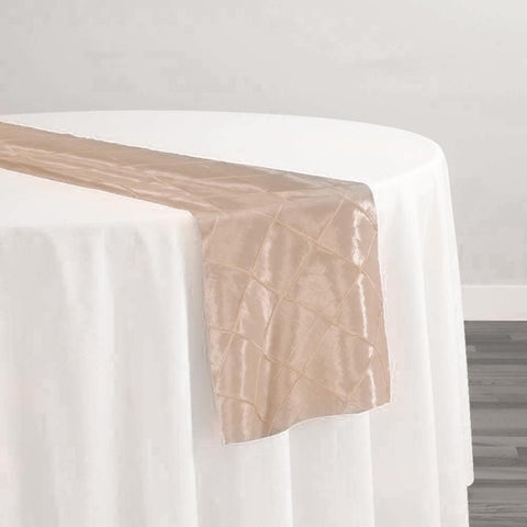 "2"" Pintuck Taffeta Table Runner in Cream"