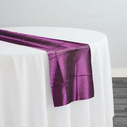 "4"" Pintuck Taffeta Table Runner in Eggplant 006"