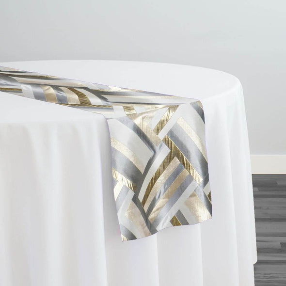 Broadway Jacquard (Reversible) Table Runner in Gold