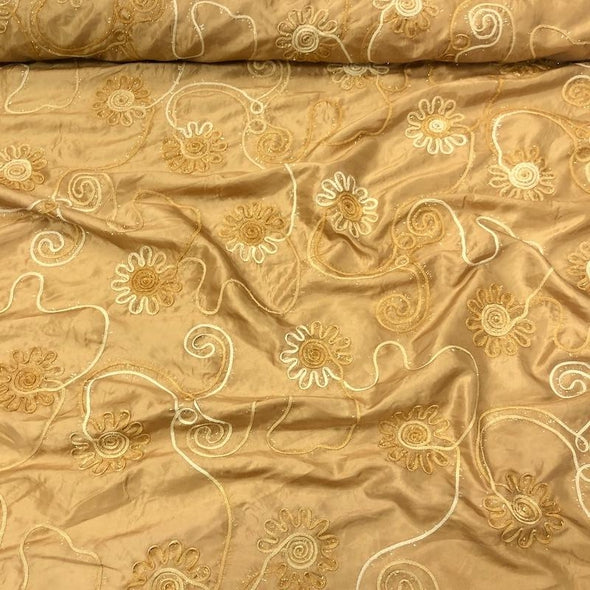 Eyelash Embroidery Table Runner in Gold