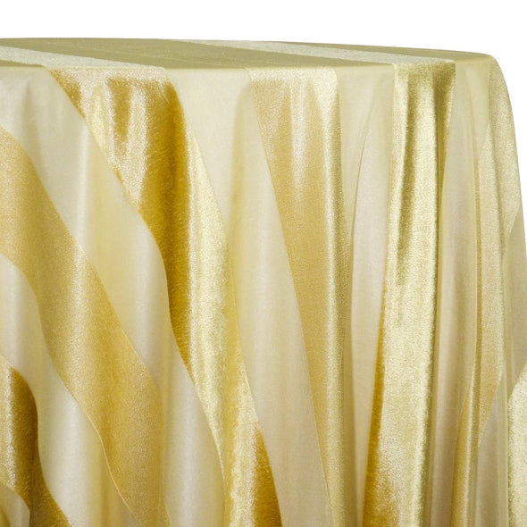 Velvet Stripe Table Linen in Gold
