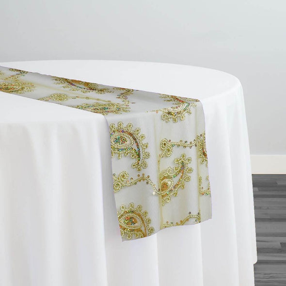 Cocoa Paisley Embroidery Table Runner in Gold