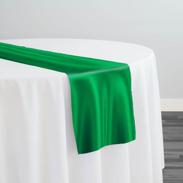 Lamour (Dull) Satin Table Runner in Kelly Green 1260