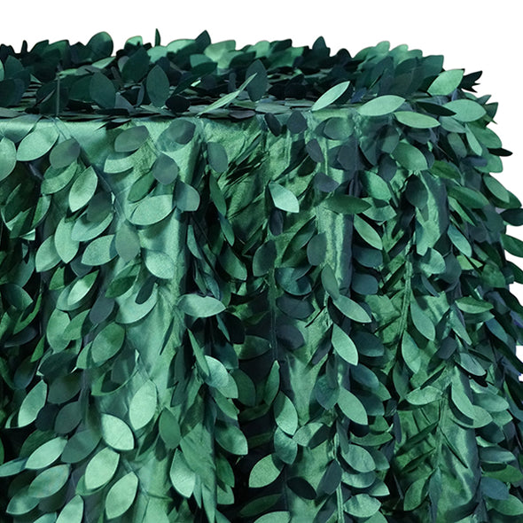 Leaf Hanging Taffeta Table Linen in Hunter Green