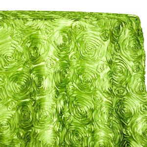 Rose Satin (3D) Table Linen in Lime