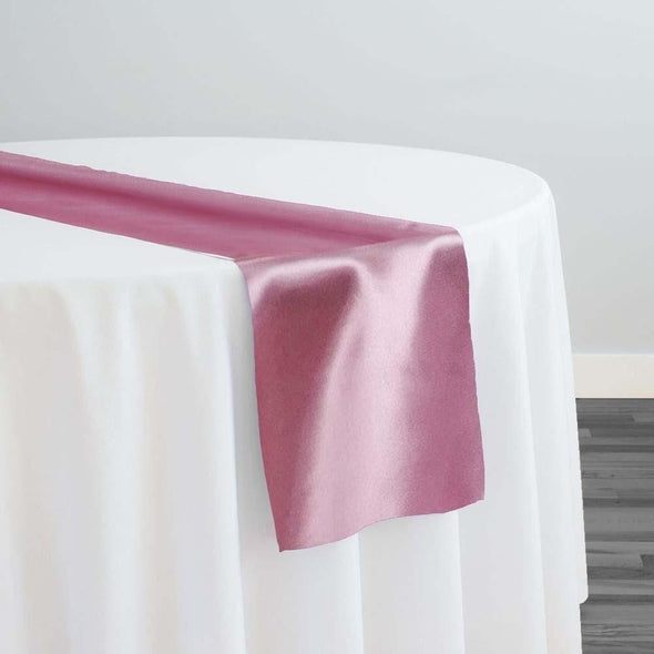 Shantung Satin Table Runner in Mauve