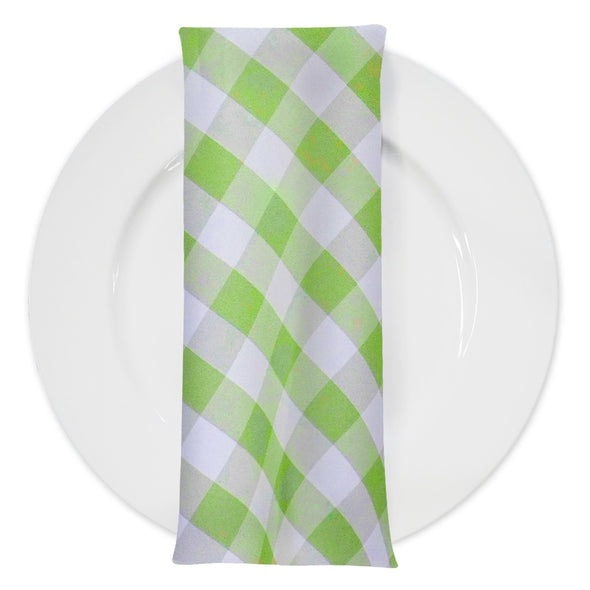 Polyester Checker (Gingham) Table Napkin in Lime