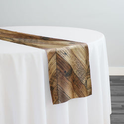 Herringbone (Poly Print) Table Runner in Natural