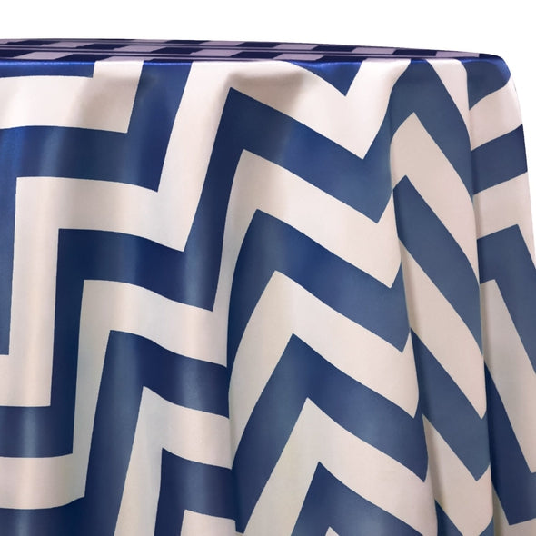 Chevron Print (Lamour) Table Linen in Navy and White