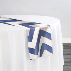 Chevron Print (Lamour) Table Runner in Navy and White