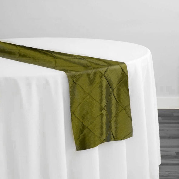 "2"" Pintuck Taffeta Table Runner in Olive 029"