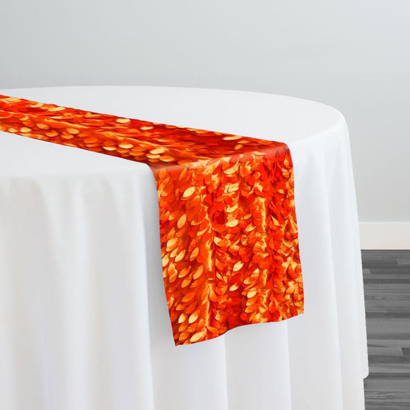 Leaf Hanging Taffeta Table Runner in Orange